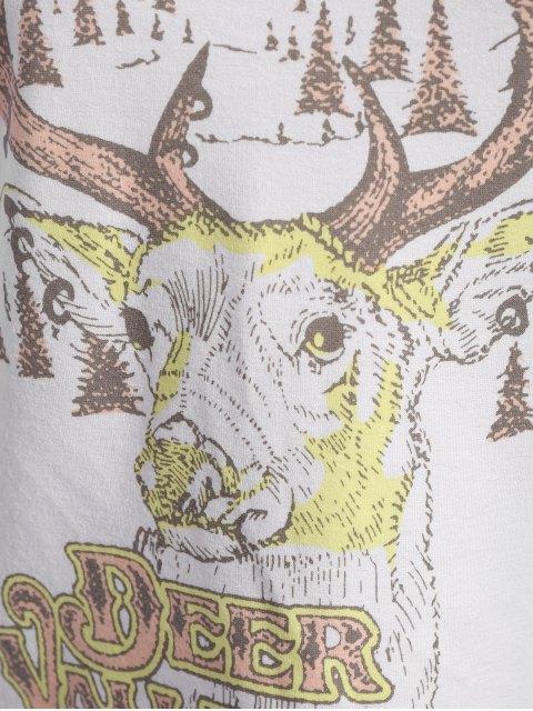 fancy Christmas Reindeer Print Sweatshirt - OFF-WHITE 2XL Mobile