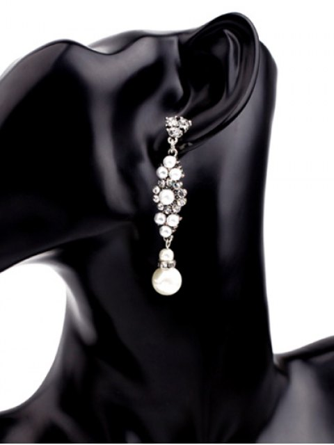 online Floral Faux Pearl Earrings - WHITE  Mobile