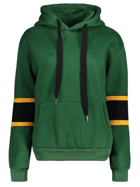 women Color Block Wool Blend Hoodie - GREEN ONE SIZE Mobile