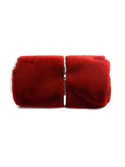 chic Flapped Faux Fur Clutch Bag - CLARET  Mobile