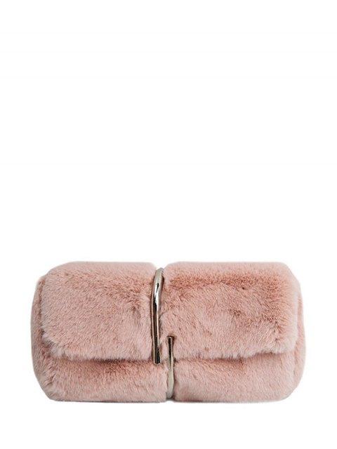 unique Flapped Faux Fur Clutch Bag - PINK  Mobile