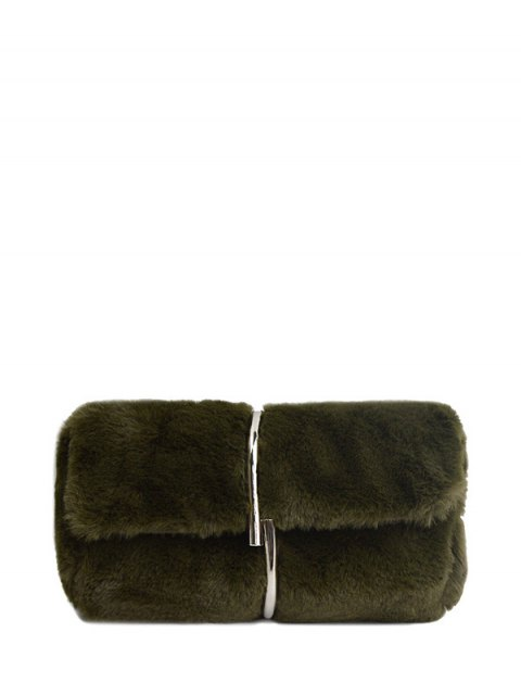 sale Flapped Faux Fur Clutch Bag - GREEN  Mobile