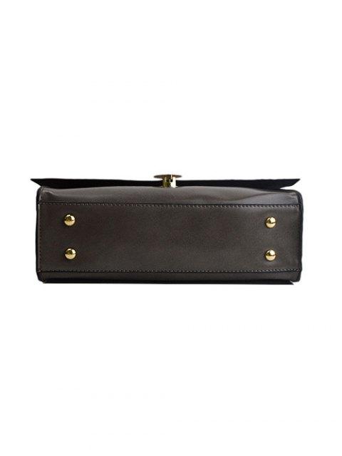 women Faux Leather Flapped Handbag - GRAY  Mobile