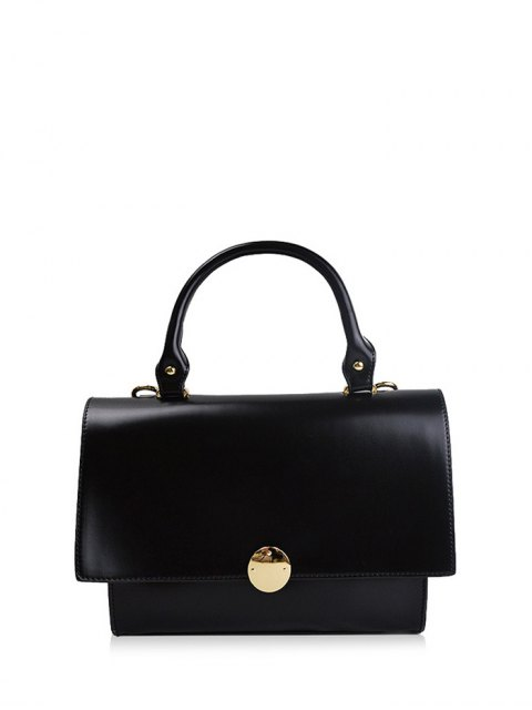 women's Faux Leather Flapped Handbag - BLACK  Mobile
