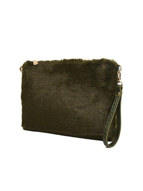 ladies Faux Fur Embossed Panel Clutch Bag - GREEN  Mobile