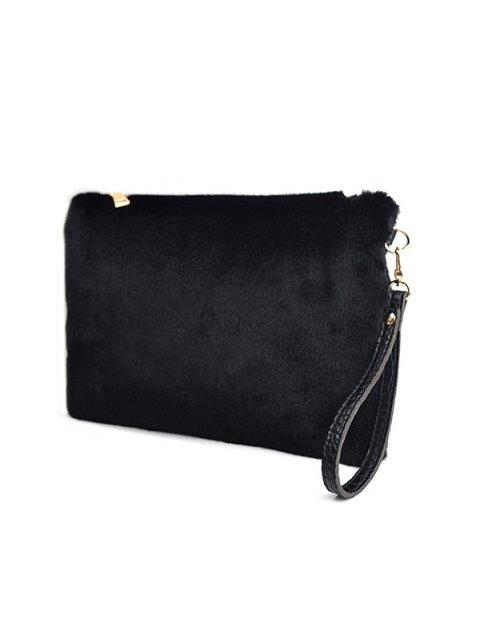best Faux Fur Embossed Panel Clutch Bag - BLACK  Mobile