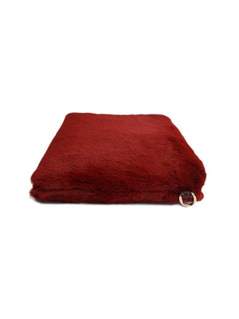 online Faux Fur Embossed Panel Clutch Bag - CLARET  Mobile