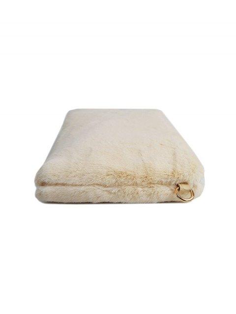 hot Faux Fur Embossed Panel Clutch Bag - BEIGE  Mobile