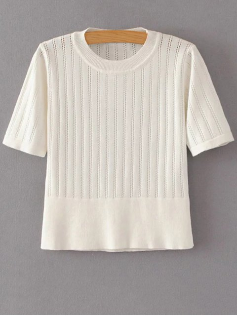 shops Short Sleeve Hollow Out Cropped Knitwear - OFF-WHITE S Mobile