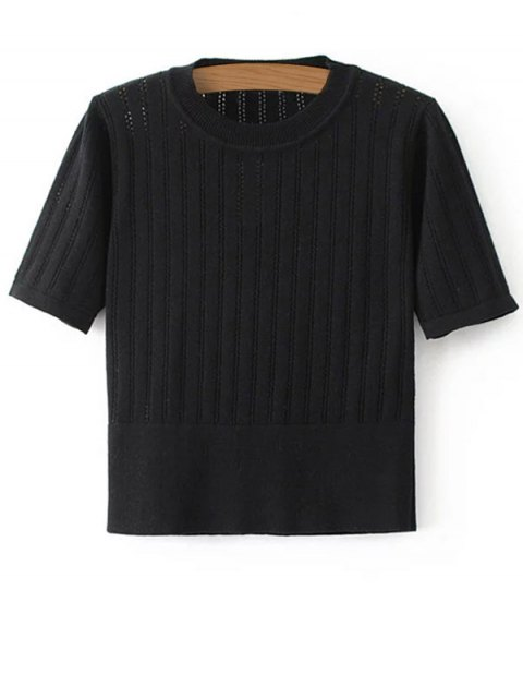 trendy Short Sleeve Hollow Out Cropped Knitwear - BLACK S Mobile