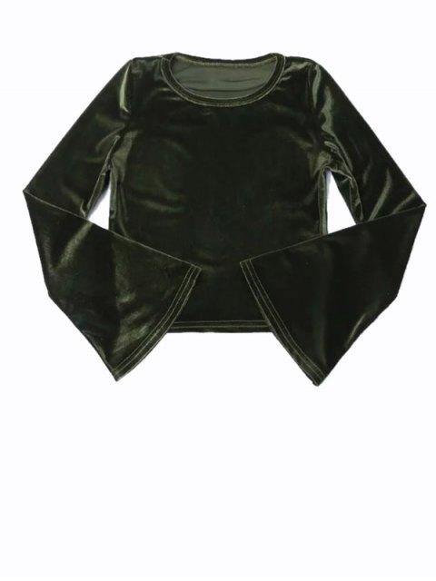 hot Vintage Flared Sleeve Velvet Crop Top - DEEP GREEN S Mobile