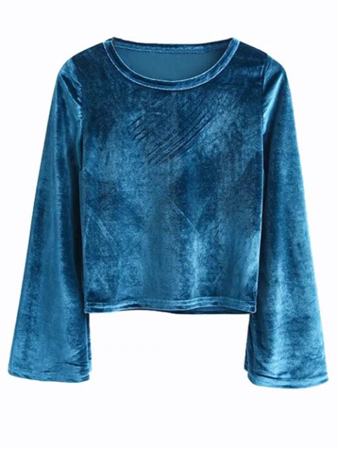shop Vintage Flared Sleeve Velvet Crop Top - PEACOCK BLUE M Mobile
