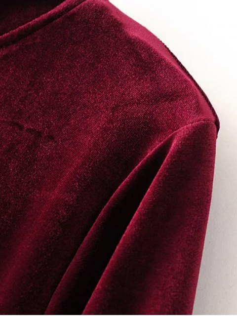 hot Cut Out Bell Sleeve Velvet Dress - BURGUNDY S Mobile