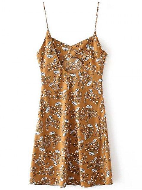 best Tiny Floral Slip Dress - YELLOW OCHER S Mobile