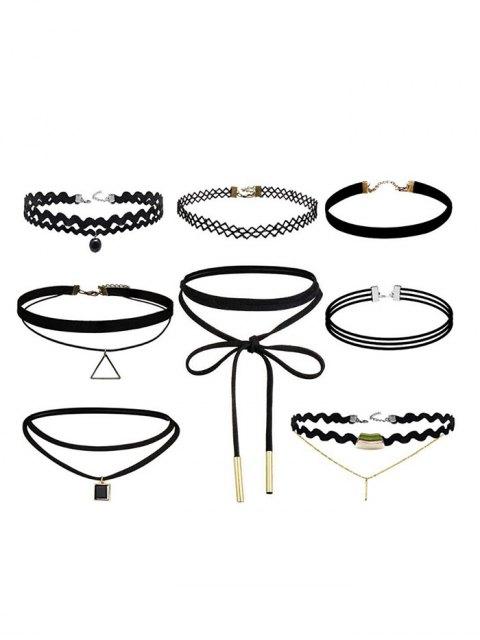 sale Geometric Vintage Bar Choker Necklace Set - BLACK  Mobile
