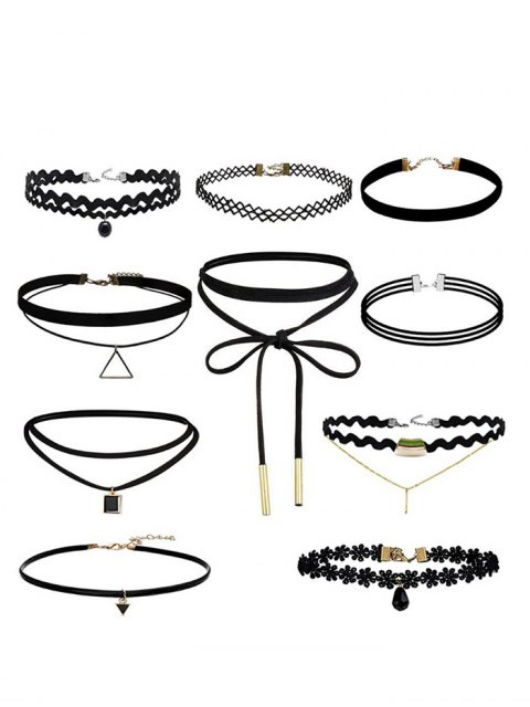 lady Geometric Flower Bar Choker Necklace Set - BLACK  Mobile