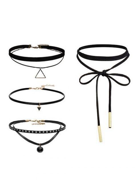 best Geometric Vintage Choker Necklace Set - BLACK  Mobile