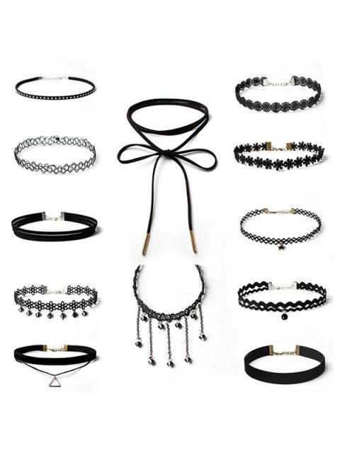 shop Floral Star Geometric Choker Necklace Set - BLACK  Mobile