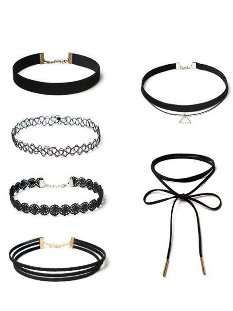 shops Flower Vintage Triangle Choker Necklace Set - BLACK  Mobile