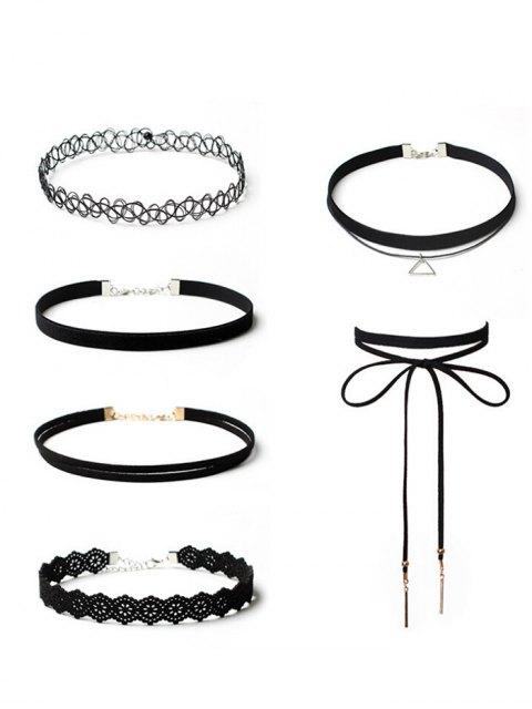 trendy Tattoo Flower Bar Choker Necklace Set - BLACK  Mobile