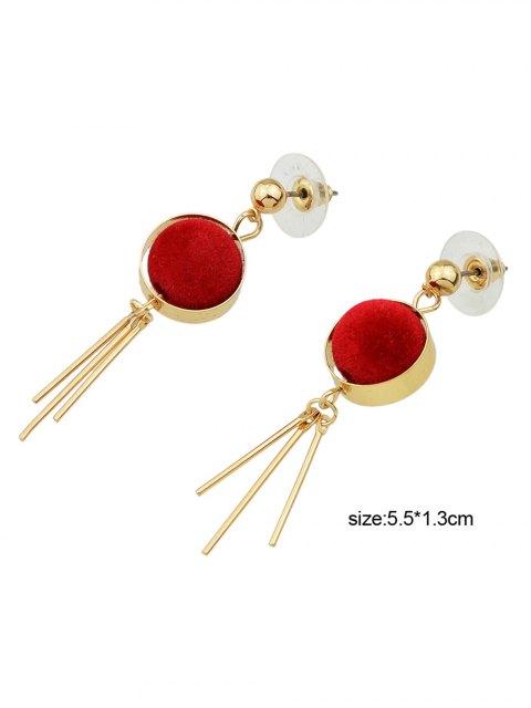 shops Ball Circle Bar Earrings - RED  Mobile