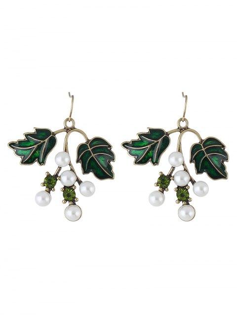 latest Faux Pearl Rhinestone Tree Leaves Earrings -   Mobile