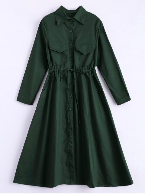 sale Long Sleeve Drawstring Shirt Dress - ARMY GREEN ONE SIZE Mobile