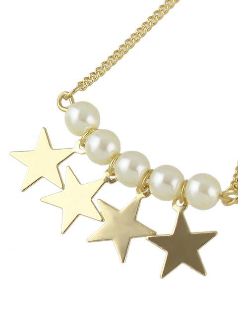 fashion Faux Pearl Star Drop Earrings - GOLDEN  Mobile