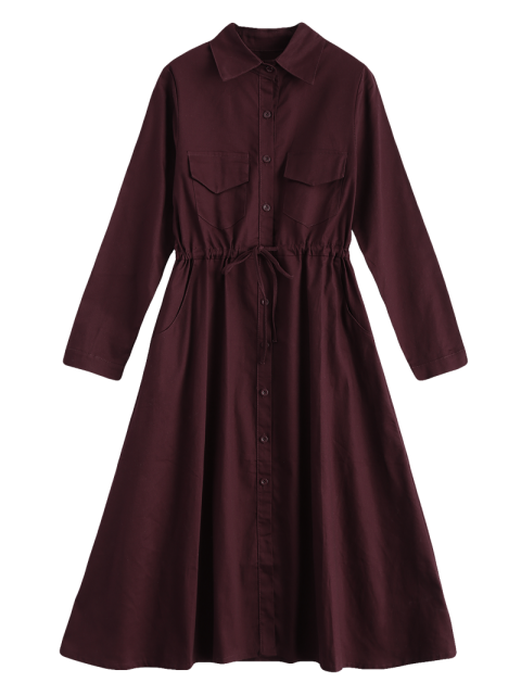 affordable Long Sleeve Drawstring Shirt Dress - WINE RED ONE SIZE Mobile