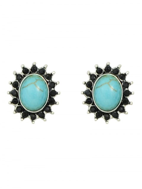 chic Rhinestone Artificial Gem Turquoise Earring Set - COLORMIX  Mobile