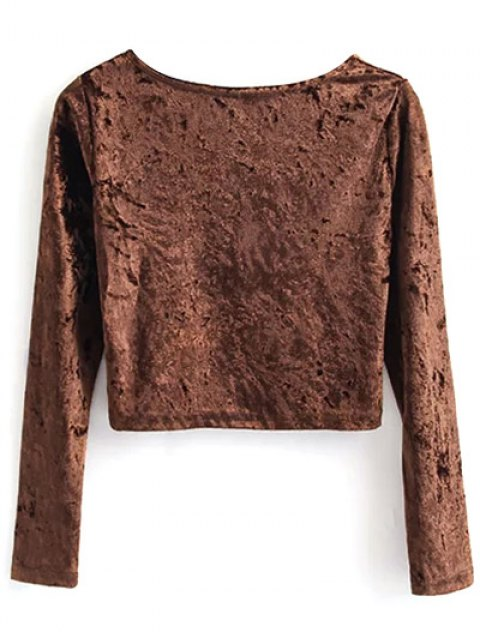 sale Vintage Scoop Neck Velvet Crop Top - COFFEE S Mobile