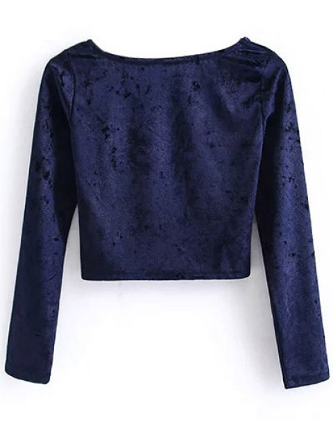 womens Vintage Scoop Neck Velvet Crop Top - CADETBLUE M Mobile