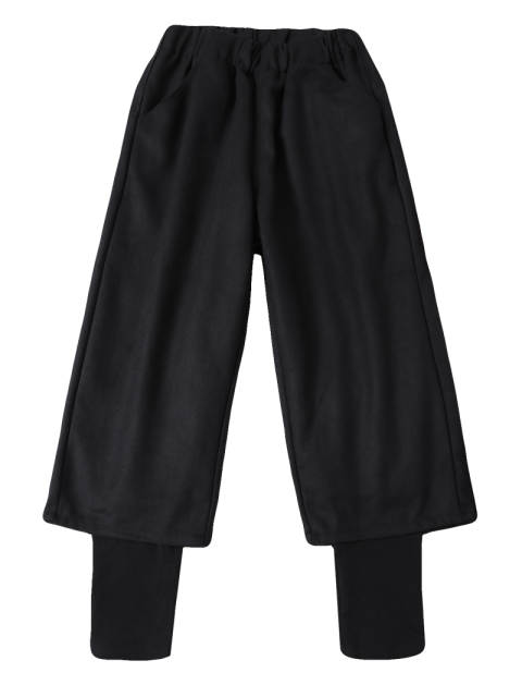 fancy Elastic Waist Layered Wide Leg Pants - BLACK M Mobile