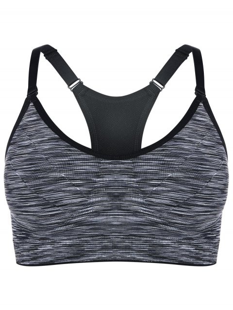 affordable Heathered Pullover Sports Bra - GRAY L Mobile