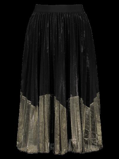 Color Block Velvet Pleated Skirt - BLACK AND GOLDEN ONE SIZE Mobile