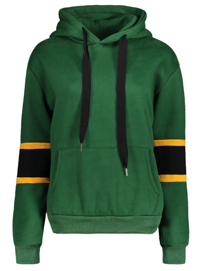 Color Block Wool Blend Hoodie - GREEN ONE SIZE Mobile
