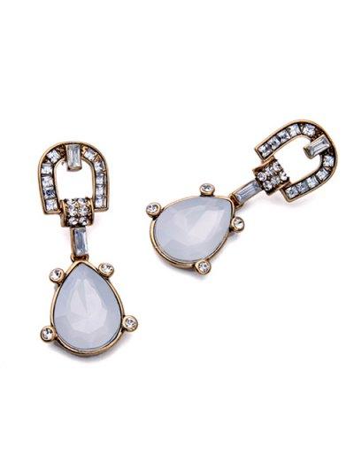 Faux Gem Teardrop Earrings - WHITE  Mobile