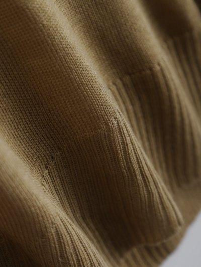 Batwing Sleeve Drop Shoulder Knitwear - BROWN XL Mobile