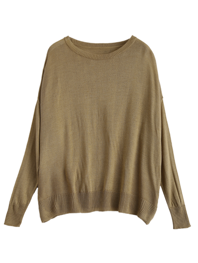 Batwing Sleeve Drop Shoulder Knitwear - BROWN L Mobile