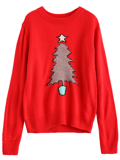 Christmas Tree Jacquard Pullover Sweater - RED 2XL Mobile