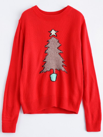 Christmas Tree Jacquard Pullover Sweater - RED XL Mobile