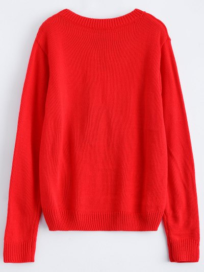 Christmas Tree Jacquard Pullover Sweater - RED L Mobile