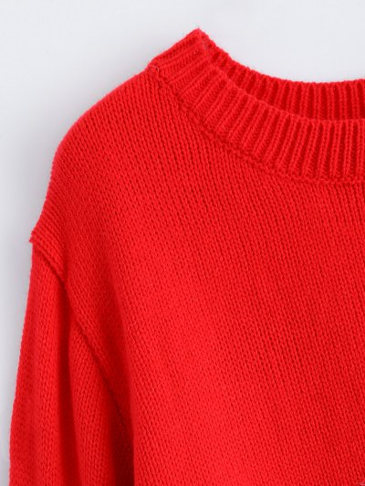 Christmas Tree Jacquard Pullover Sweater - RED S Mobile