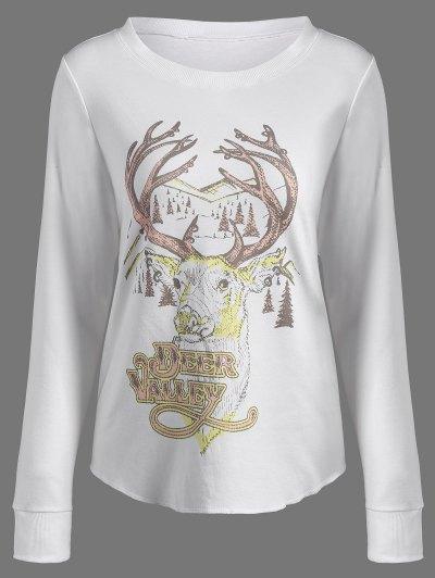 Christmas Reindeer Print Sweatshirt - OFF-WHITE L Mobile