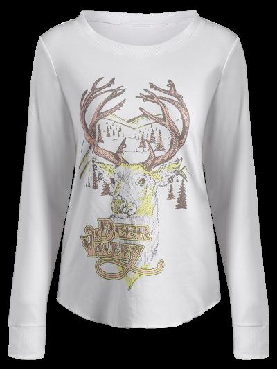 Christmas Reindeer Print Sweatshirt - OFF-WHITE M Mobile