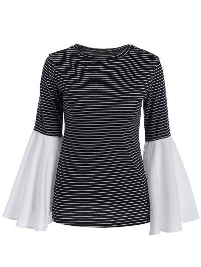 Flare Sleeve Striped T-Shirt - STRIPE 2XL Mobile