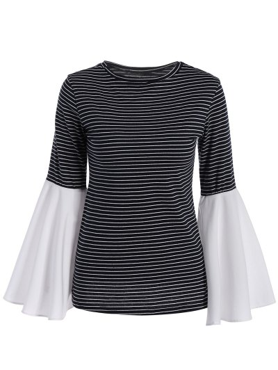 Flare Sleeve Striped T-Shirt - STRIPE XL Mobile