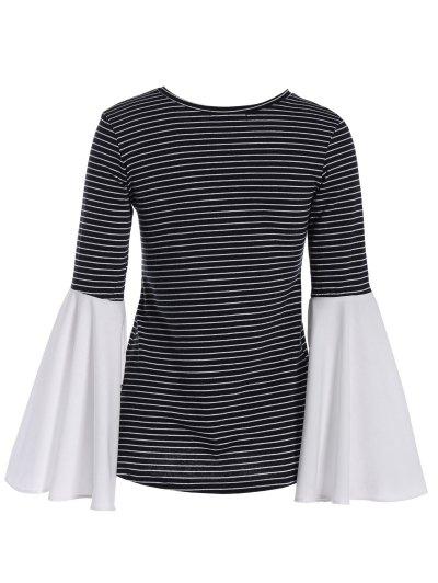 Flare Sleeve Striped T-Shirt - STRIPE L Mobile