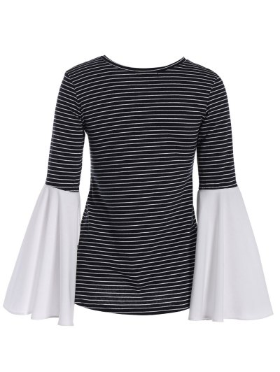Flare Sleeve Striped T-Shirt - STRIPE M Mobile