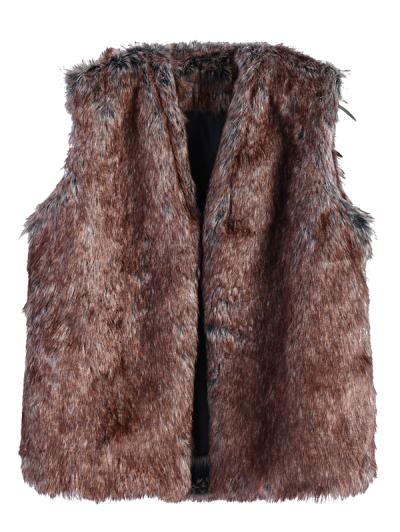 Faux Fur Open Front Waistcoat - TAUPE L Mobile
